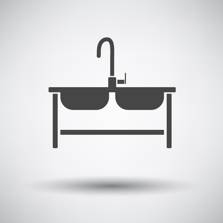 double sink: Double sink icon on gray background with round shadow. Vector illustration.