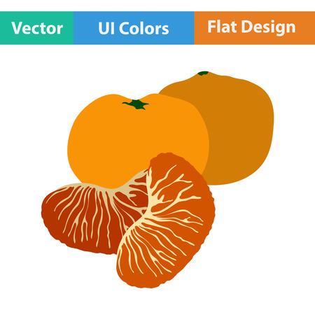mandarin: Flat design icon of Mandarin in ui colors. Vector illustration.