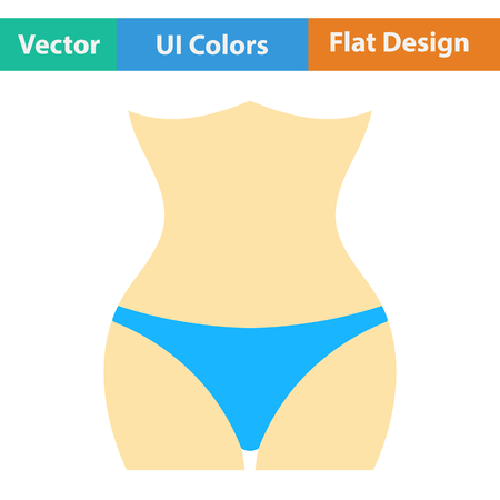 smooth legs: Flat design icon of Slim waist  in ui colors. Vector illustration.