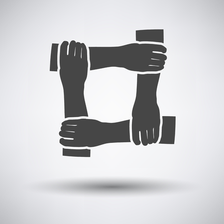 black hands: Crossed hands icon on gray background with round shadow. Vector illustration.