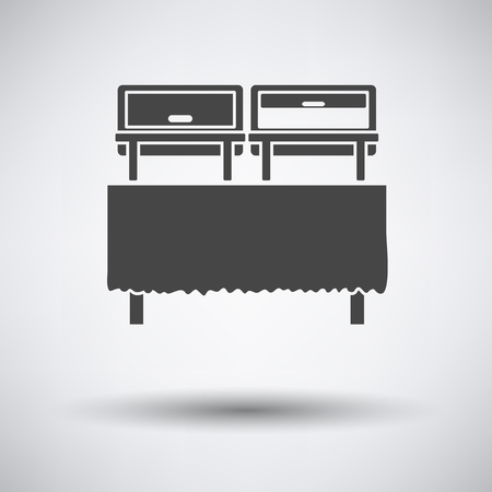 chafing dish: Chafing dish icon on gray background with round shadow. Vector illustration.