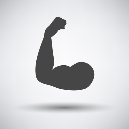 bicep: Bicep icon on gray background with round shadow. Vector illustration.