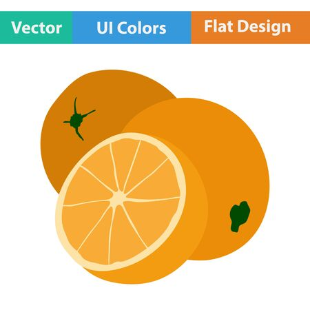 rinds: Flat design icon of Orange in ui colors. Vector illustration.