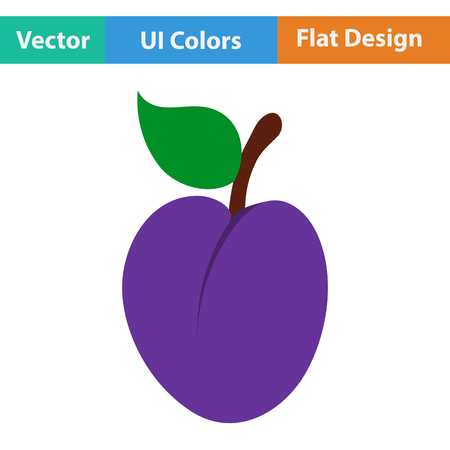 drupe: Flat design icon of Plum  in ui colors. Vector illustration.