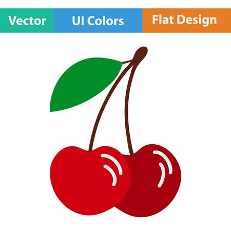 drupe: Flat design icon of Cherry in ui colors. Vector illustration.