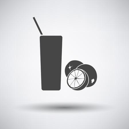 orange juice glass: Orange juice glass icon on gray background with round shadow. Vector illustration. Illustration