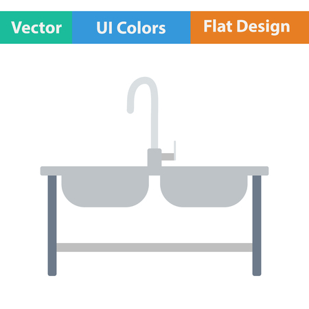 double sink: Double sink icon. Vector illustration.