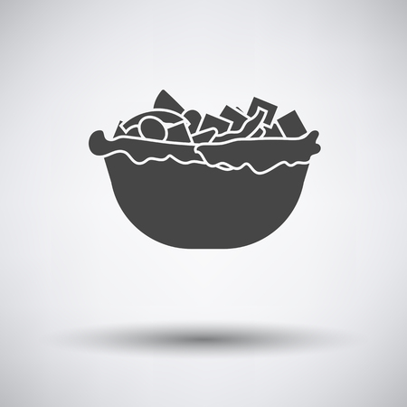 salad: Salad in plate icon on gray background with round shadow. Vector illustration.