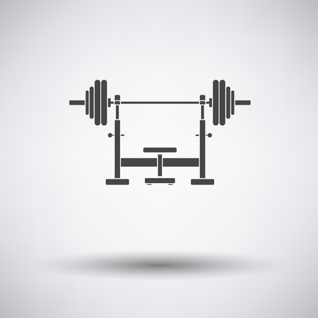 circular muscle: Bench with barbel icon on gray background with round shadow. Vector illustration. Illustration
