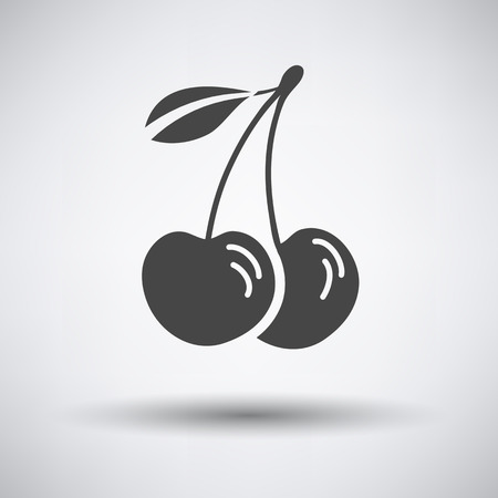 drupe: Cherry icon on gray background with round shadow. Vector illustration. Illustration
