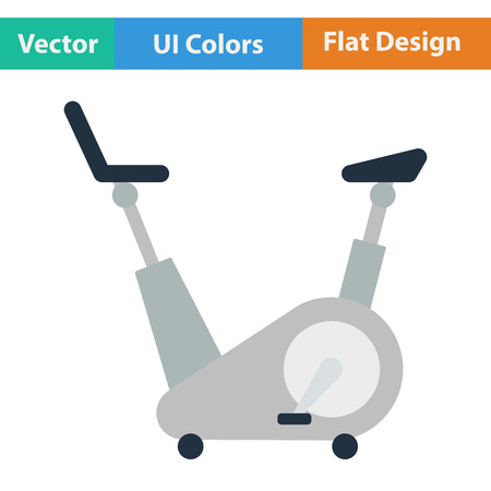 trainer device: Flat design icon of Exercise bicycle  in ui colors. Vector illustration.