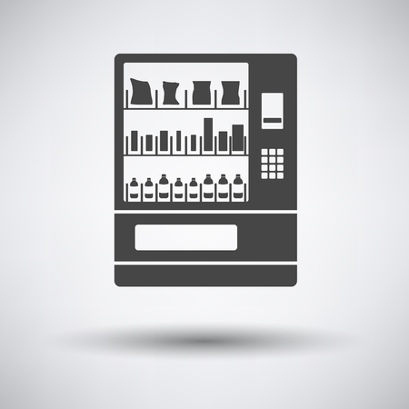 vending: Food selling machine icon on gray background with round shadow. Vector illustration.