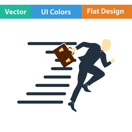 accelerating: Flat design icon of Accelerating businessman in ui colors. Vector illustration.