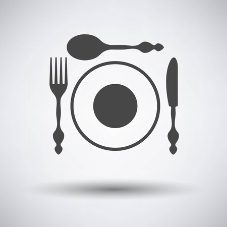 silverware: Silverware and plate icon  on gray background with round shadow. Vector illustration. Illustration