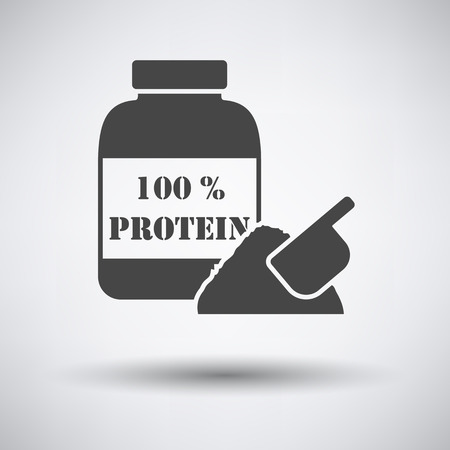 gainer: Protein conteiner icon on gray background with round shadow. Vector illustration.