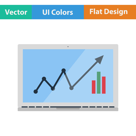 job functions: Flat design icon of Laptop with chart in ui colors. Vector illustration. Illustration