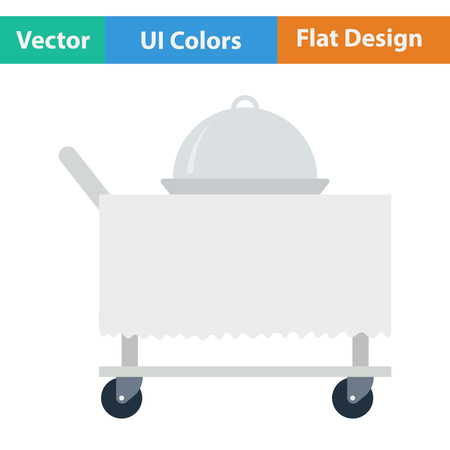 cart: Restaurant  cloche on delivering cart icon. Vector illustration. Illustration