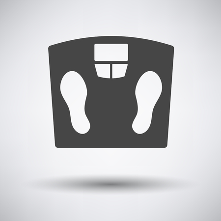 analog weight scale: Floor scales icon on gray background with round shadow. Vector illustration.