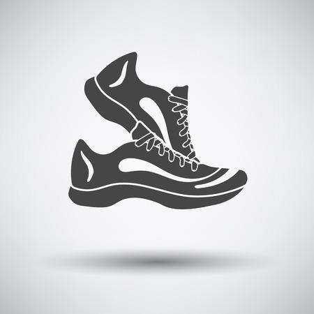 baskets fitness icône sur fond gris avec une ombre ronde. Vector illustration.