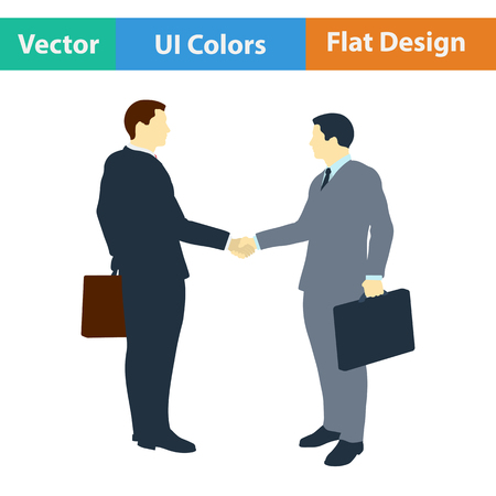 acknowledgment: Flat design icon of Meeting businessmen in ui colors. Vector illustration.