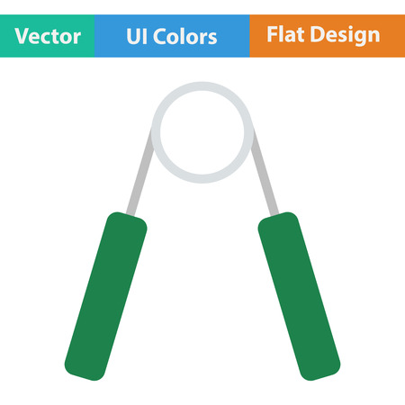 hand gripper: Flat design icon of Hands expander in ui colors. Vector illustration.