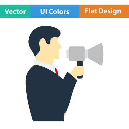 mouthpiece: Flat design icon of Man with mouthpiece in ui colors. Vector illustration.