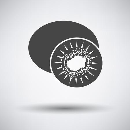 actinidia deliciosa: Kiwi icon on gray background with round shadow. Vector illustration.