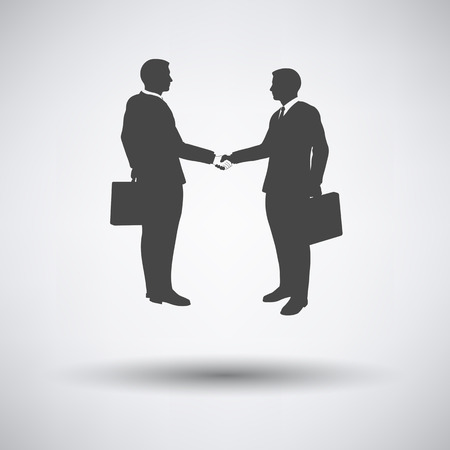 acknowledgment: Meeting businessmen icon on gray background with round shadow. Vector illustration.