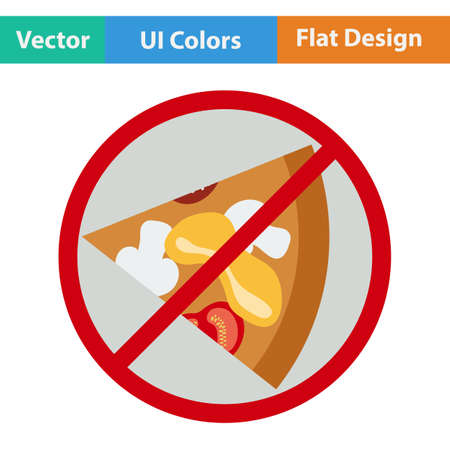 eating habits: Prohibited pizza icon. Vector illustration. Illustration