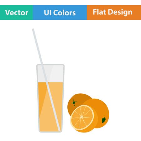 orange juice glass: Flat design icon of Orange juice glass in ui colors. Vector illustration. Illustration