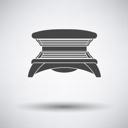 icono de solarium en fondo gris con la sombra redonda. Ilustración del vector.