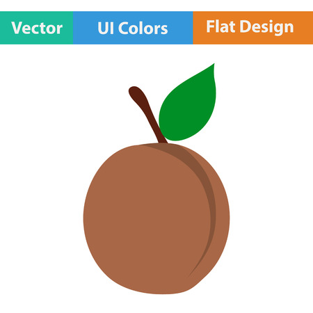 drupe: Flat design icon of Peach in ui colors. Vector illustration. Illustration