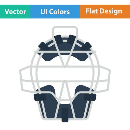 the protector: Baseball face protector icon. Flat design. Vector illustration.