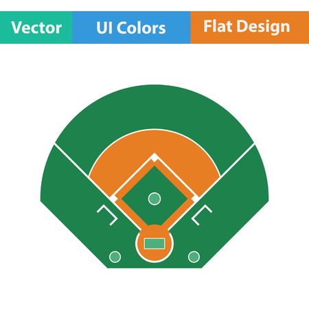 outfield: Baseball field aerial view icon. Flat design. Vector illustration.