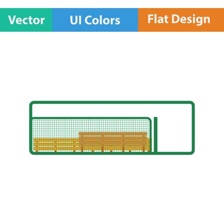 Baseball reserve bench icon. Flat design. Vector illustration.
