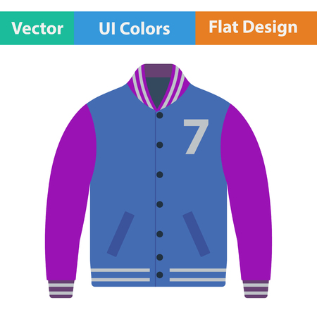 winter jacket: Baseball jacket icon. Flat design. Vector illustration. Illustration
