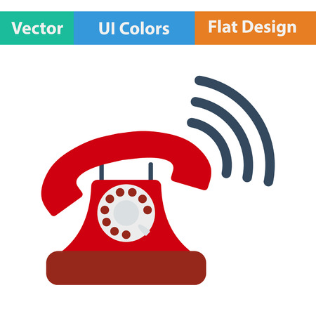old telephone: Old telephone icon. Flat design. Vector illustration.