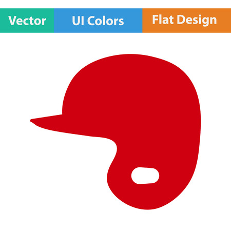 a helmet: Baseball helmet icon. Flat design. Vector illustration. Illustration