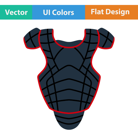 little league: Baseball chest protector icon. Flat design. Vector illustration.