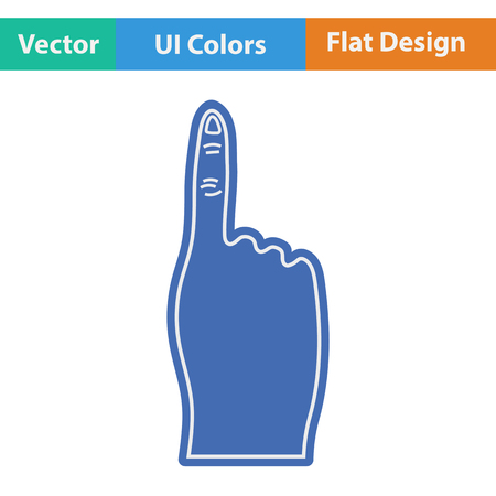 foam: Fans foam finger icon. Flat design. Vector illustration.