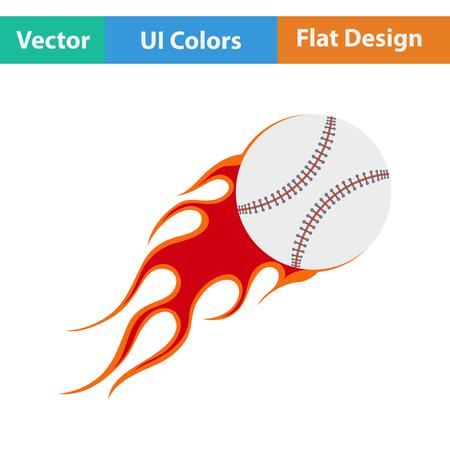 fire ball: Baseball fire ball icon. Flat design. Vector illustration.