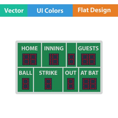 inning: Baseball scoreboard icon. Flat design. Vector illustration. Illustration
