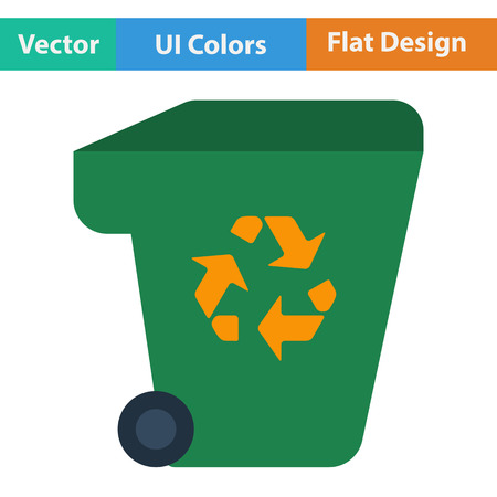 garbage container: Garbage container with recycle sign icon. Flat design. Vector illustration.