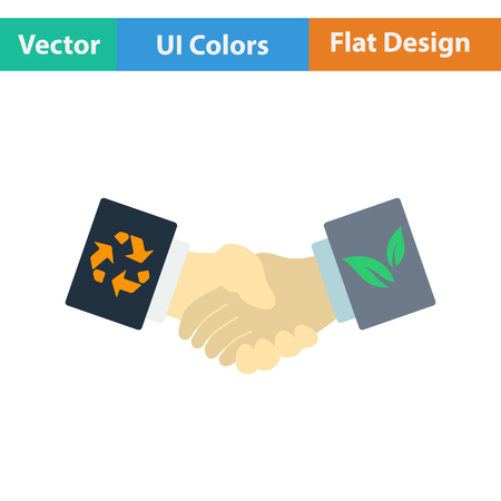 manos estrechadas: Ecological handshakes icon. Flat design. Vector illustration. Vectores