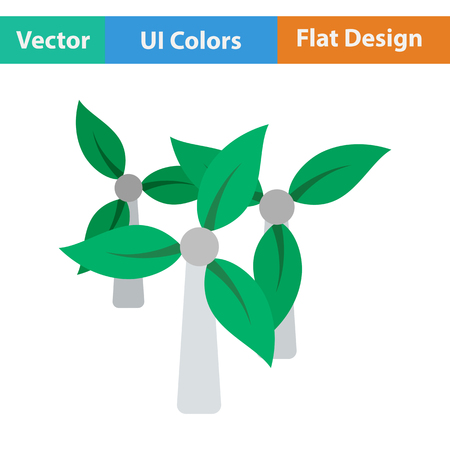 wind mill: Wind mill with leaves in blades icon. Flat design. Vector illustration.