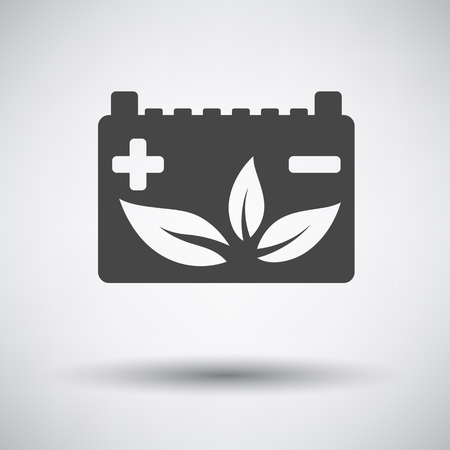 car leaf: Car battery leaf icon on gray background with round shadow. Vector illustration.