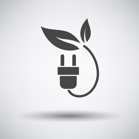 protection concept: Electric plug leaves icon on gray background with round shadow. Vector illustration.