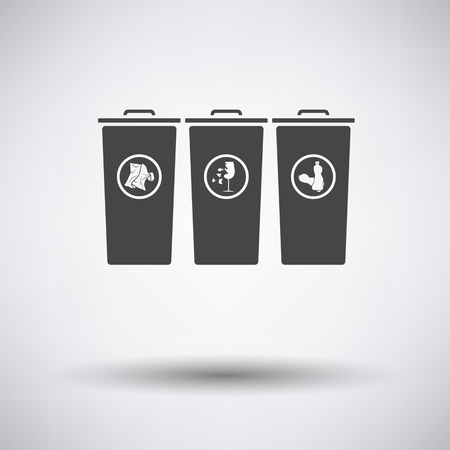 segregate: Garbage containers with separated trash icon on gray background round shadow. Vector illustration.
