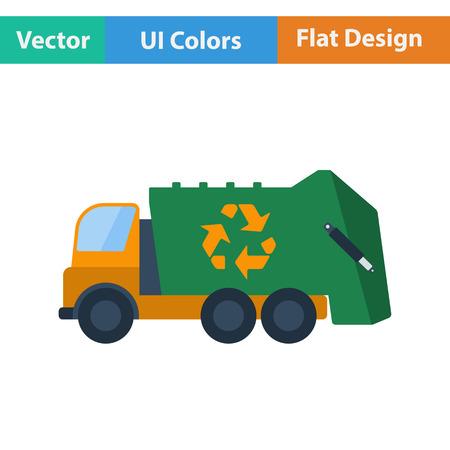 coche de basura con el icono de reciclar. Diseño plano. Ilustración del vector.