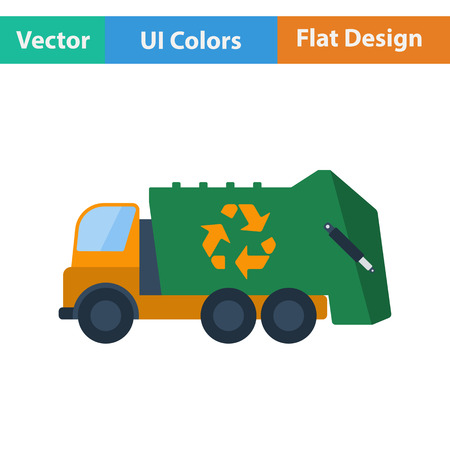 collection: Garbage car with recycle icon. Flat design. Vector illustration. Illustration